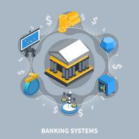 Banking Systems Isometric Round Composition