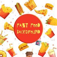 Desenhos animados retros do fundo decorativo do fast food