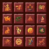 Conjunto de iconos mayas
