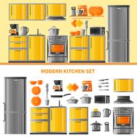 Kitchen Design Concept With Domestic Technique vector
