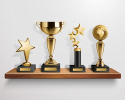 Realistic Trophy Awards On Shelf