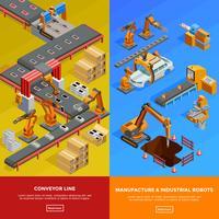 Banners isométricos de línea transportadora robótica 2