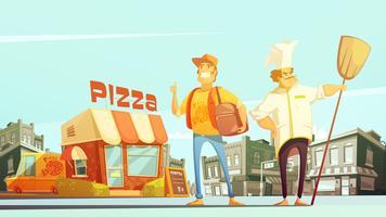 Ilustração de entrega de pizza