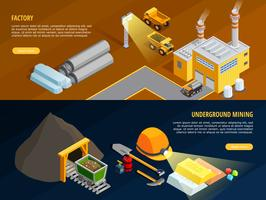 Mining Horizontal Banners Set  vector