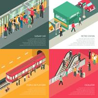 Subway Metro 4 Isometric Icons Square