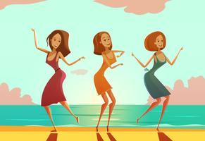 Mujeres bailando en playa cartel de dibujos animados
