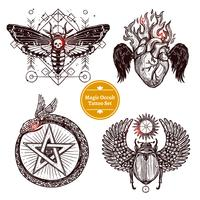 Magische occulte tattoo set