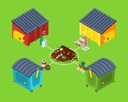 Cartel isométrico de gestión de residuos