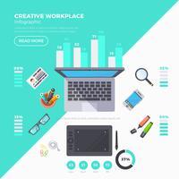 Conjunto de infografía de objetos de trabajo