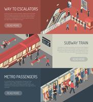 Ensemble de bannières horizontales isométriques du chemin de fer Subway