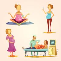 Pregnancy Retro Cartoon 4 icons Set