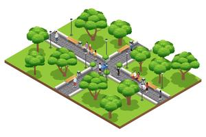 Isometric Landscaping Composition With People