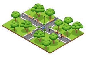 Composición de paisajes isométricos con personas