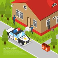 Home Security Alarm Response Isometric Illustratie