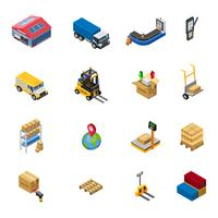 Warehouse Isometric Icons Set