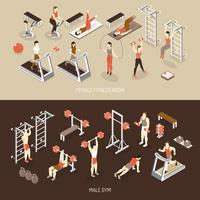 Fitness Isometric Horizontal Banners