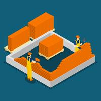 Building Construction Workers Isometric Banner