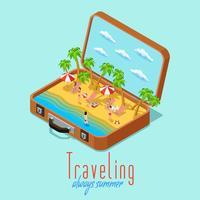Cartel retro isométrico del estilo del viaje de las vacaciones
