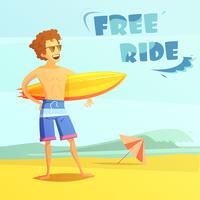 Surfing Retro Cartoon Illustration