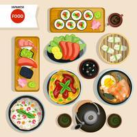 Ensemble de cuisine japonaise vue de dessus