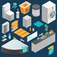 Bathroom Interior Isometric Set