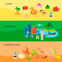 Vietnamese Culture Horizontal Flat Banners Set