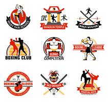 Martial Clubs Colorful Emblems vector