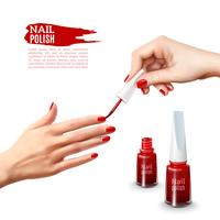 Manicure Nail Polish Hands Realistic Poster vetor
