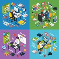 Professional Workplace Isometric 4 Icons Square
