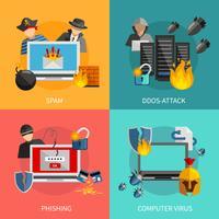 Hacker Attacks 2x2 Design Concept  vector