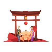 Cultura japonesa retro composición con pagoda