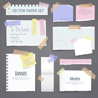 Paper Banners Set With Sticky Tape vector