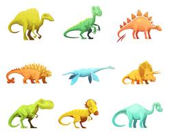 Dinosaurus Retro Cartoon Characters Icons Collection