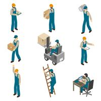 Delivery Man Isometric Icons Set