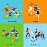 Pregnant Woman Fitness Concept Icons Set