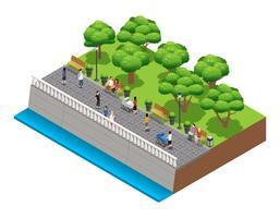 Composição de paisagismo isométrica com pessoas