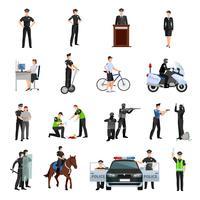 Conjunto de iconos de colores planos de gente de policía