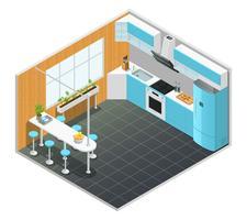 Ilustración isométrica interior de cocina