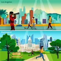 Conjunto de composiciones de paisajes urbanos americanos