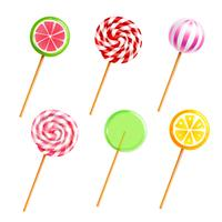 Sötsaker Lollipops Candies Realistiska ikoner Set