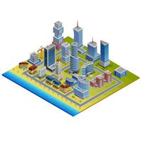 Ilustración isométrica de la ciudad