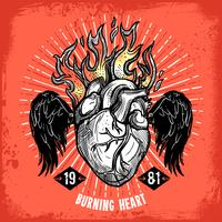 Burning Heart Tattoo Poster