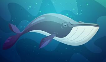 Illustration de dessin animé rétro de gros poissons sous l'eau