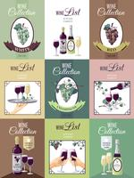 Set Of Wine Menu Poster