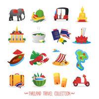 Colección de iconos planos de viaje de Tailandia