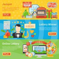 Banners horizontais de loteria e jackpot