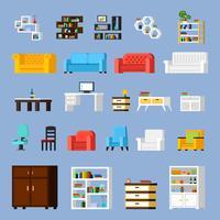 Conjunto de iconos de elementos interiores