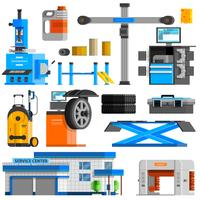 Auto Service Flat Decorative Icons Set