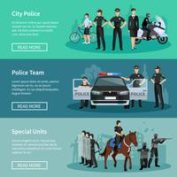 Banners planos de gente de policia