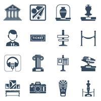 Museo plano conjunto de iconos negro